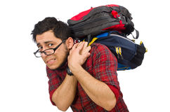 Young man with bags isolated on white Stock Image