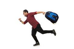 Young man with bags isolated on the white Royalty Free Stock Images