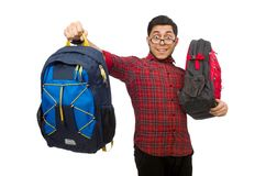 Young man with bags isolated on the white Royalty Free Stock Photography