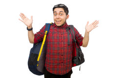 Young man with bags isolated on the white Royalty Free Stock Image