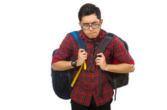 Young man with bags isolated on white Royalty Free Stock Photos