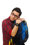 Young man with bags isolated on white Stock Photo