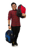 Young man with bags isolated on white Stock Photography
