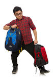 Young man with bags isolated on white Royalty Free Stock Photo