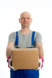 Young man with bald head and cardboard Royalty Free Stock Images
