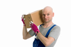 Young man with bald head and cardboard Royalty Free Stock Photography