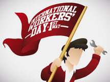 Young Man with Banner Flag for Workers' Day Celebration, Vector Illustration Stock Photos