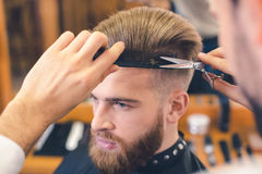 Young Man in Barber Shop Hair Care Service Concept Royalty Free Stock Photos