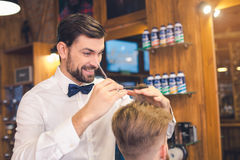 Young Man in Barber Shop Hair Care Service Concept Royalty Free Stock Photography