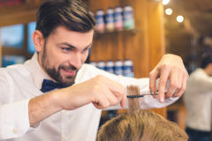 Young Man in Barber Shop Hair Care Service Concept Stock Images