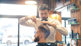 Young Man in Barbershop Hair Care Service Concept Stock Image