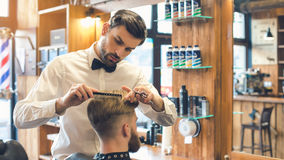 Young Man in Barbershop Hair Care Service Concept Stock Photography
