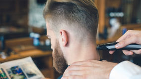 Young Man in Barbershop Hair Care Service Concept Stock Images
