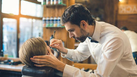Young Man in Barbershop Hair Care Service Concept Royalty Free Stock Photography