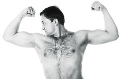 A young man with a bare-chested Royalty Free Stock Images