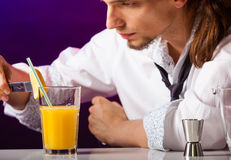 Young man bartender preparing alcohol cocktail drink Stock Images