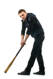 Young man with baseball bat Stock Images