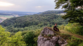 Young Man in the Bavarian Jura Mountains Stock Image