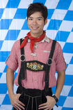 Young man with Bavarian Oktoberfest Lederhose Royalty Free Stock Photo