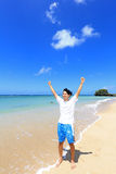 Young man on beach Stock Photography
