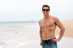 Young man beach Royalty Free Stock Images