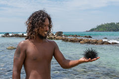 Young man on the beach holding sea urchin in his hand Royalty Free Stock Photos