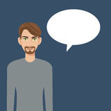 Young man beard bubble speech icon Stock Photography