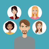 Young man beard community faces icon Royalty Free Stock Photos