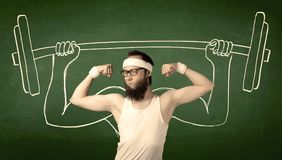 Young man lifting weight Royalty Free Stock Photography