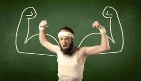 Skinny student wants muscles Royalty Free Stock Images