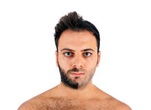 A young man with a beard on half of the face. On white background stock image