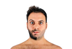A young man with a beard on half of the face. On white background royalty free stock images
