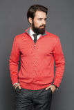 A young man with a beard and a jersey and trousers, standing Royalty Free Stock Image