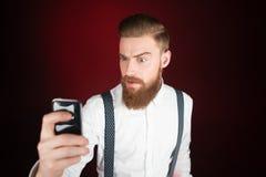 Young man with beard making selfie Stock Photos