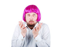Young man with beard and pink hair Stock Photos