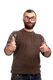 Young man with beard points at you Stock Photos