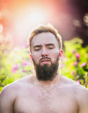 Young man with beard  and straight face on sunset nature background, , close up Royalty Free Stock Photo