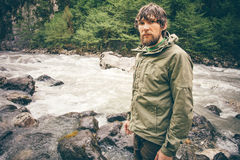 Young Man bearded hiking outdoor Stock Photo