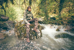 Young Man bearded relaxing hiking outdoor Royalty Free Stock Images