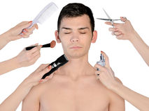 Young man at beauty treatment Royalty Free Stock Image