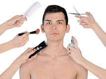 Young man at beauty treatment Royalty Free Stock Images