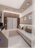 Young man bedroom, interior design, render 3D Royalty Free Stock Images