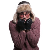Young man is being scared about the winter cold Stock Image