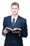 Young man with Bible Stock Photo