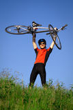 Young man with bicycle Royalty Free Stock Images
