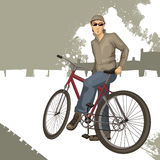 Young man on a bicycle Stock Photos
