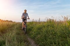 Young man on bike, cyclist in field with green grass and yellow flowers, beautiful nature landscape. Young man on bicycle in nature in sunlight. Field with royalty free stock image