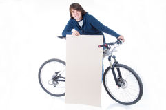 Young man with bicycle and space for your text Royalty Free Stock Photography
