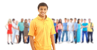 A young man with big group of Royalty Free Stock Photo