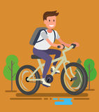 Young man with bike Royalty Free Stock Photography